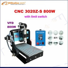 Mini CNC 3020Z-S800W Router Engraver/Engraving Drilling and Milling Machine,water cooled with limit switch