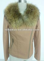 2012 hottest leather down jacket with fur collar for women/collar can take down