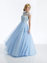 2014 Christmas Hot Sale High Quality Charming Prom Dresses Evening dress Crew V- back Ball Gown Tulle Beads Applique Party Dress
