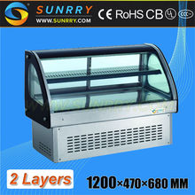 1.2m long 2 layers refrigerant curved glass counter top cake display fridge with marble finish (SY-CS94A SUNRRY)