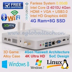 Gabinete PC 4GB RAM 8GB SSD Fanless Mini Itx Case with Intel NUC i3 CPU for 4K Blu-ray Video HTPC Kodi Mini Computer Ubuntu PC