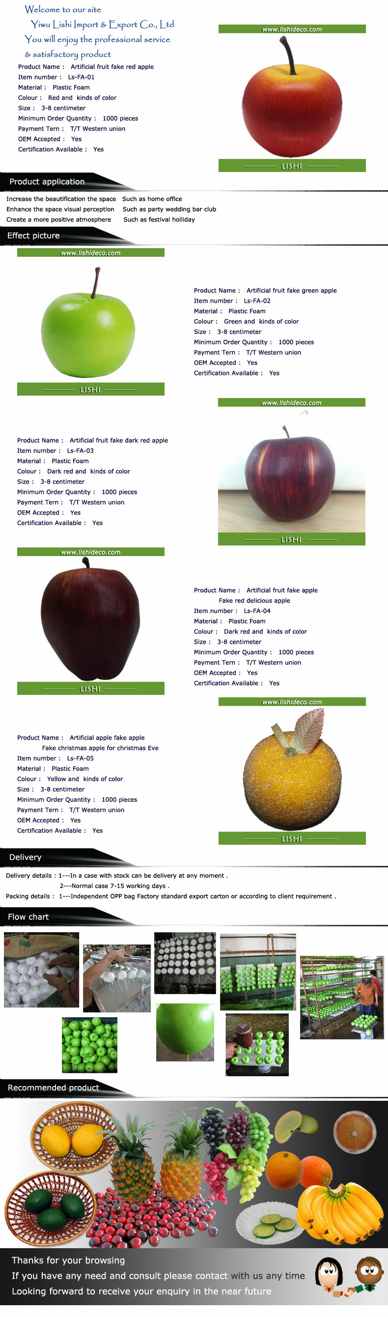 Direct sell fake apple for home decoration