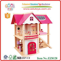 Hot Sale EZ8128 Goodkids Kids Pretend Play Wooden Doll House in pink color