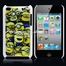 Popular cartoon despicable me plastic sublimation cell phone case for ipod touch 4