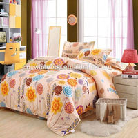 Beautiful flower bedding set,4 pcs bedclothes, include 1*quilt cover 1*bed sheet 2*pillowcase, yellow flowers, free shipping!