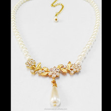 2015 Fashion diamond with pearl Necklace 18K Gold