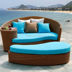BBJ patio garden furniture PE wicker sun lounger Rattan Outdoor Sun Bed