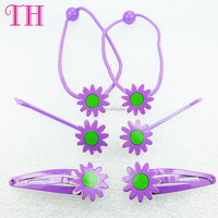 hair accessories set manufacturer china resin nylon hair band violet flower hairclip girls hair bands for kids