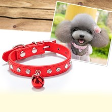 Twinkle Fashion Diamond PU Cats and Puppy Collar