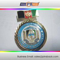Custom medals metal honda golden medallion with clear epoxy domed ,medal gift box for sale
