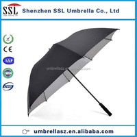 Shenzhen facory UV protection Golf Umbrella Silver plasters Black