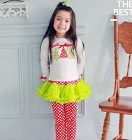2016 Fashion Girls Clothes Hot Sale 2-piece Children Girls Boutique Top And Ruffle Pant Cotton Girl Outfit