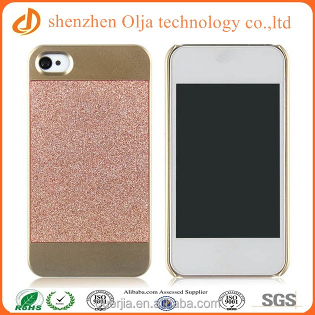 Hot selling bling bling pu leather coating case for iphone 5, unique pc hard plastic case for iphone 5