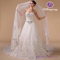 HM96081 Luxury Sweetheat Bodice Lace Heavy Beaded Wedding Dress with Train