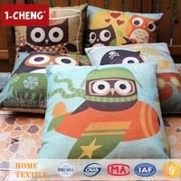 New Design Cute Owl Design Folk Art Pillow Case Jacquard Printing Cushion Chair Seat Cushion For Home Decor