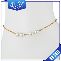 New Charm Design 18k Gold Plated Anklets for Women Ankle Bracelet Chain Imitation Pearl Foot Jewelry 2015 wholesale Body Jewelry