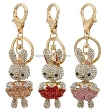 trending hot products golden plated colorful enameled crystal cute rabbit in skirt animal pendant keychain jewelry