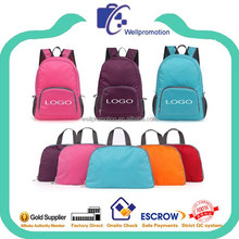 wellpromtion hot selling promotional folding teens nylon backpack