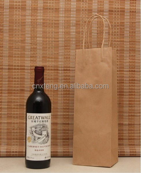 2015 Cheap Personalized Durable Paper Wine Bottle Bag