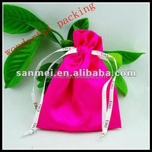 2015 new fashion packing bag satin pouch satin drawstring bags