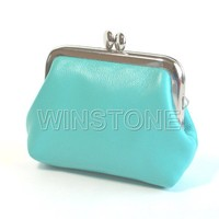 Metal Lock Closure Leather Coin Purse Coin Wallet