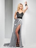 (MY2641) Marry You Satin Spaghetti Strap Black Lace Evening Dress Backless High Slits
