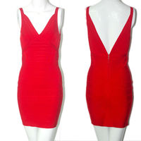 simple design elegant deep v red tight ladies designer office dresses
