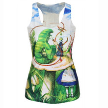Woman Fashion Seamless Knitting Vest Ladies Hot Digital Tie-dye Graffiti Alice In Wonderland Pattern Printing Tank Tops