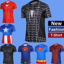 Plus Size Men T Shirt Fashion Short Sleeve Spiderman Superman Venom Captain America Batman Iron high fashion mens clothing