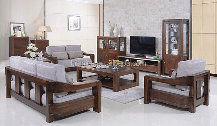 Estilo americano m veis de nogueira preta conjunto de sof for Sala de estar de madera