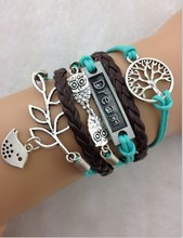 TrTree of Life, Dream, Owls & Lucky Branch Leaf with Lovely Bird Charm Bracelet in Silver - 1712 Min order 10$