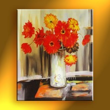 handmade home decor Artwork still life red flower vase oil painting on canvas