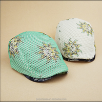 2015 fashion sunflower printed jeans beret cap