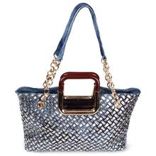 MSF46 canvas handbag&Hot selling woman bling jeans handbag&handbag hardware made in China