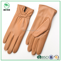 Women fashion nude leather gloves with small bowkont trims