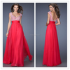 Red Cap Sleeves Low Back Pattern Custom Made Floor Length Long Formal Party Evening Dresses Designs CP061 2015 long prom dresses