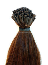 "Indian Virgin Remy Human Hair, Pre-Bonded Nail Tips, 18"", Colour 3 - Brown, Naturally Straight"