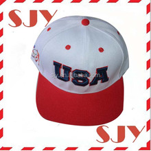 Two Tone USA Flat Bill Custom 3D Embroidery Snapback Hat