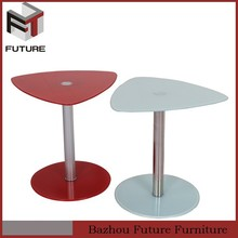 simple triangle shape tabl glass and chrome side coffee tables