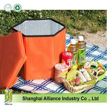 420D polyester promotional foldable round seat cooler bucket for picnic