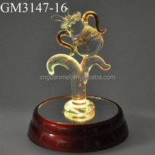 wholesale good quality decorative glass animal with light for decoration
