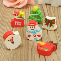 New 1 Set Cute Christmas Series Eraser Cartoon Rubber 6 Patterns Correction Supplies For Kid Children Student Stationery