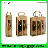 Jute wine bag/jute tote wine bag with bamboo handle