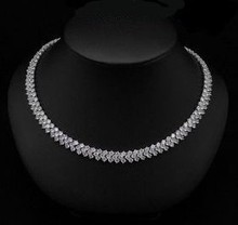 Real White Gold Plated Rome Necklace Zircon Crystal Necklaces Free Shipping