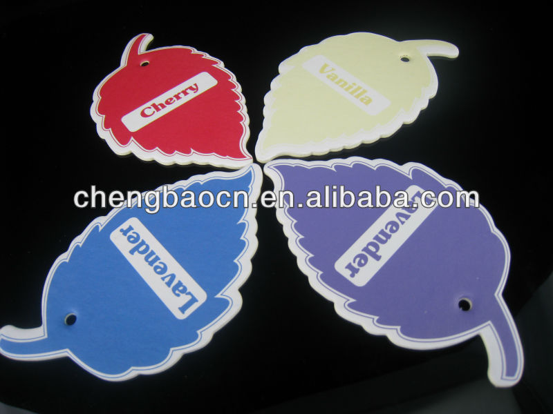 maple leave shape custom made scented paper car air freshener /coconut scent paper car air freshener for promotional gifts