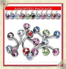 colored stones banana balls eyebrow piercing jewelry eyebrow jewelry slave piercing jewelry (KSEY-009)