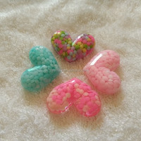 Hotsale Bulk Heart Flatback Lucite Resin Mixed Colorful Cabochons For Phone Case