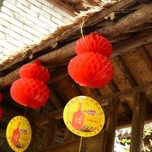 Traditional chinese plastic paper lantern red