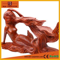 Elegant Fashion creative wooden handicrafts Rosewood wooden wine rack Mermaid statues sale for christmas decoration supplies