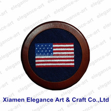 Navy Blue American Flag Needlepoint Drink Coaster For Sale